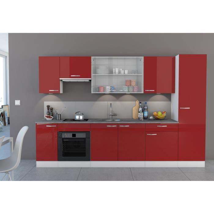 cherry cuisine compl te 310 cm rouge blanc achat vente. Black Bedroom Furniture Sets. Home Design Ideas