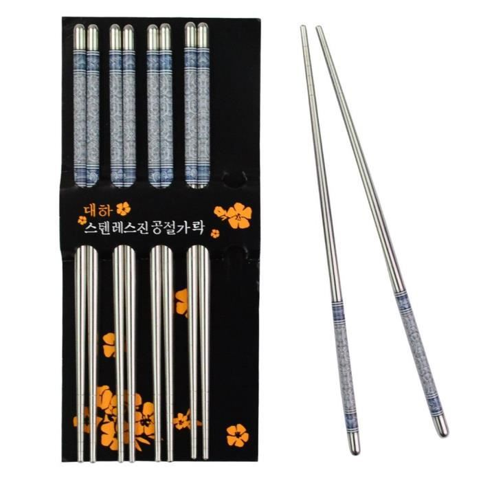 baguettes chinoises en acier inoxydable 5 paires bleu et blanc d 39 impression achat vente set. Black Bedroom Furniture Sets. Home Design Ideas