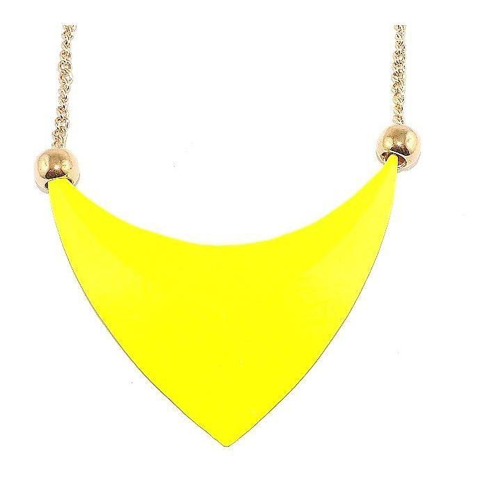 collier fantaisie triangle pop color jaune - Sautoir Fantaisie Color