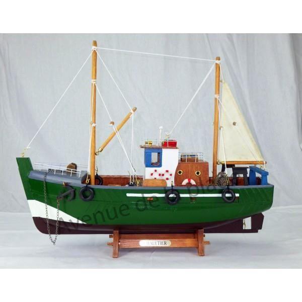 maquette d corative chalutier 45 cm achat vente objet d coratif bois cdiscount. Black Bedroom Furniture Sets. Home Design Ideas