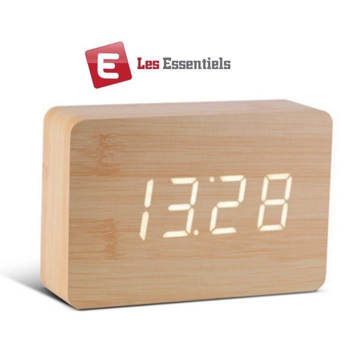 ess r veil en bois design horloge radio r veil avis et prix pas cher les soldes sur. Black Bedroom Furniture Sets. Home Design Ideas