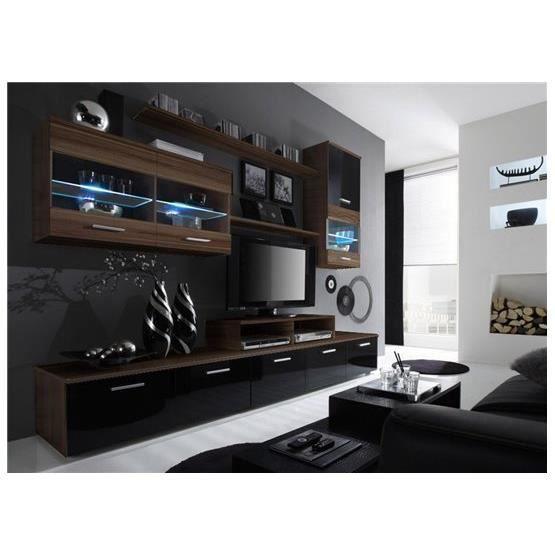 Meuble tv design logi bordeaux et noir achat vente for Meuble tv design noir