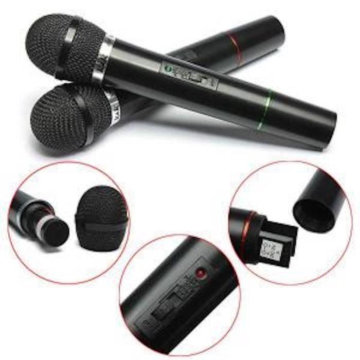 lot de 2 pro microphone sans fil micro fm pour chant dj. Black Bedroom Furniture Sets. Home Design Ideas