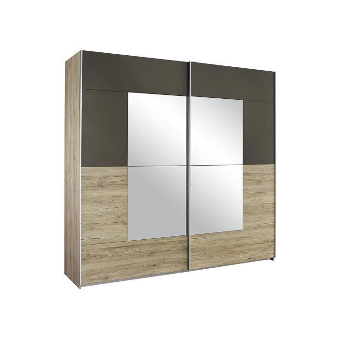 Armoire contemporaine 2 portes coulissantes 175 cm ch ne lavagrau arto acha - Armoire contemporaine portes coulissantes ...