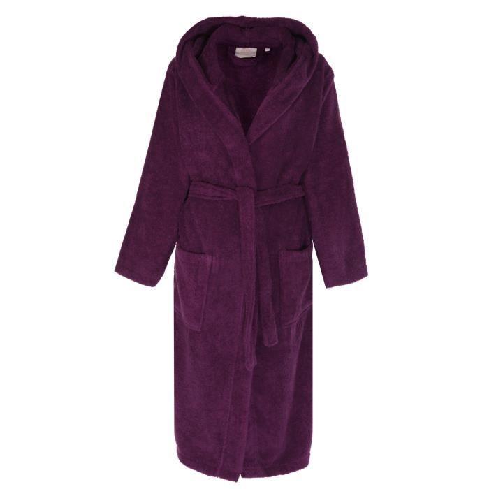 peignoir capuche pour femme en coton ponge doux de florentina violet achat vente. Black Bedroom Furniture Sets. Home Design Ideas