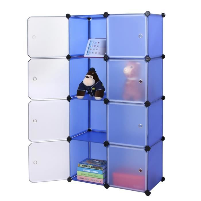 Songmics diy armoire penderie cubes etag re modulables plastiques cadre en m - Meubles cubes modulables ...