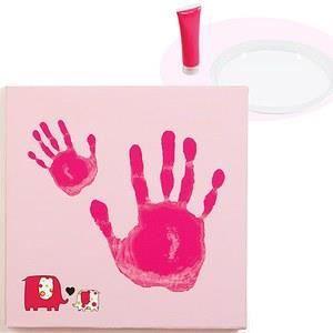 kit realisation empreinte sur toile bebe rose achat vente coffret cadeau souvenir. Black Bedroom Furniture Sets. Home Design Ideas