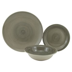 SERVICE COMPLET SERVICE 18 PIECES  GRES MILANO TAUPE 6 PLATES 26CM
