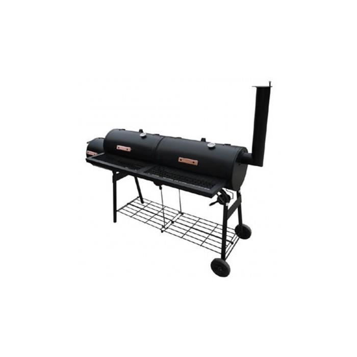barbecue am ricain smoker fumoir double compartiment grill. Black Bedroom Furniture Sets. Home Design Ideas