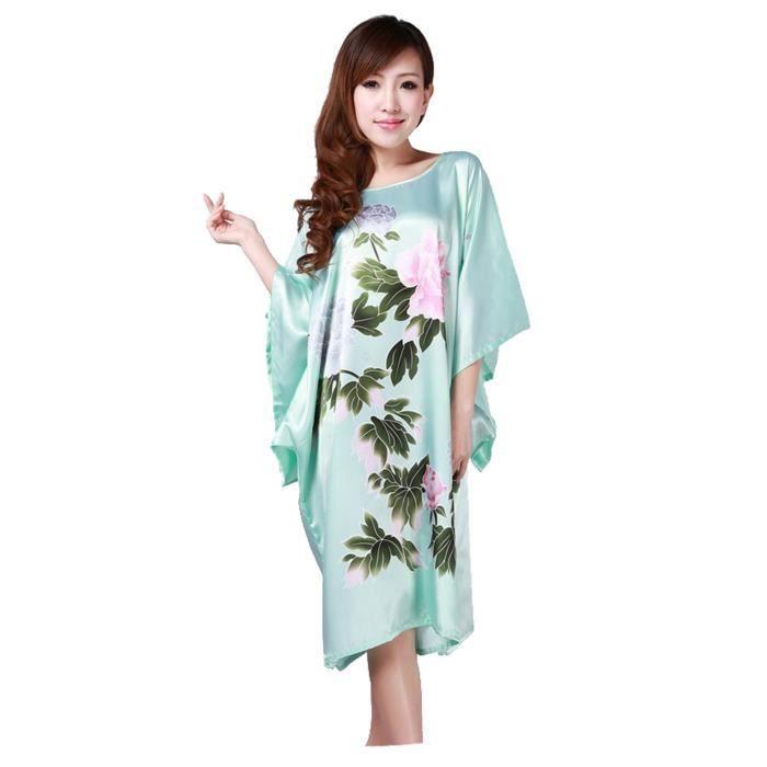femmes pyjama chemise de nuit robe de nuit v tement robe de chambre pivoine vert clair vert vert. Black Bedroom Furniture Sets. Home Design Ideas