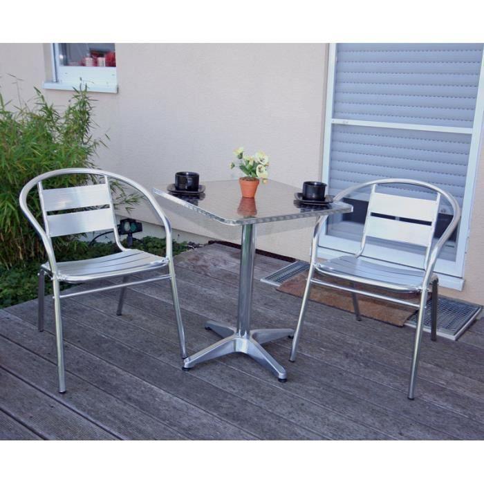 table de bistrot 2 chaises aluminium terrasse achat vente salon de jardin table de bistrot. Black Bedroom Furniture Sets. Home Design Ideas