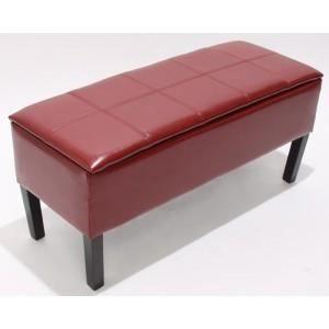 Banquette coffre de rangement rouge avec pieds achat vente banquette cuir - Coffre rangement avec assise ...