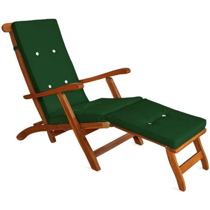 Coussin pour chaise longue 173 cm matelas vert achat for Transat pour jardin