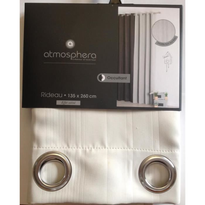 rideau occultant effet satin ray ivoire achat vente rideau cadeaux de no l cdiscount. Black Bedroom Furniture Sets. Home Design Ideas