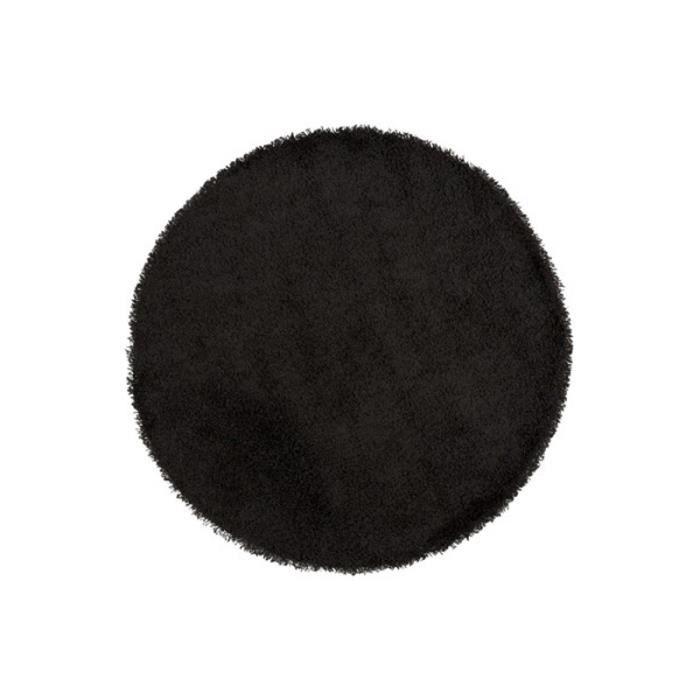 tapis design 39 cava 39 rond poils longs noir 200 cm achat vente tapis cdiscount. Black Bedroom Furniture Sets. Home Design Ideas