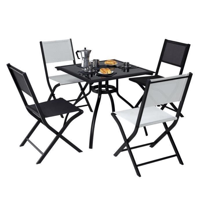 lot de 2 chaises pliante modulo grise structure achat vente chaise fauteuil jardin lot de. Black Bedroom Furniture Sets. Home Design Ideas