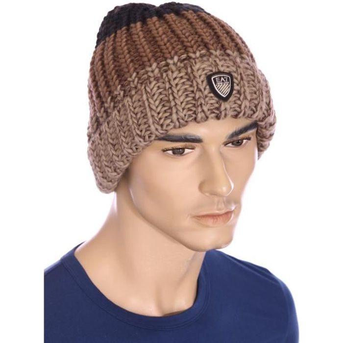 ea7 emporio armani bonnet marron homme hiver 2016 275554 5a392 marron achat vente bonnet. Black Bedroom Furniture Sets. Home Design Ideas