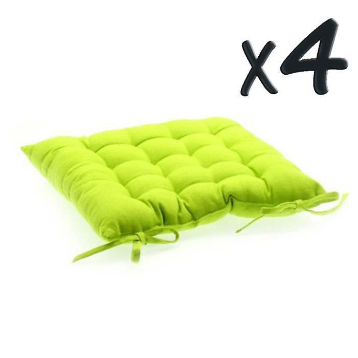Lot de 4 coussins de chaise en coton vert anis achat for Housse de coussin vert anis