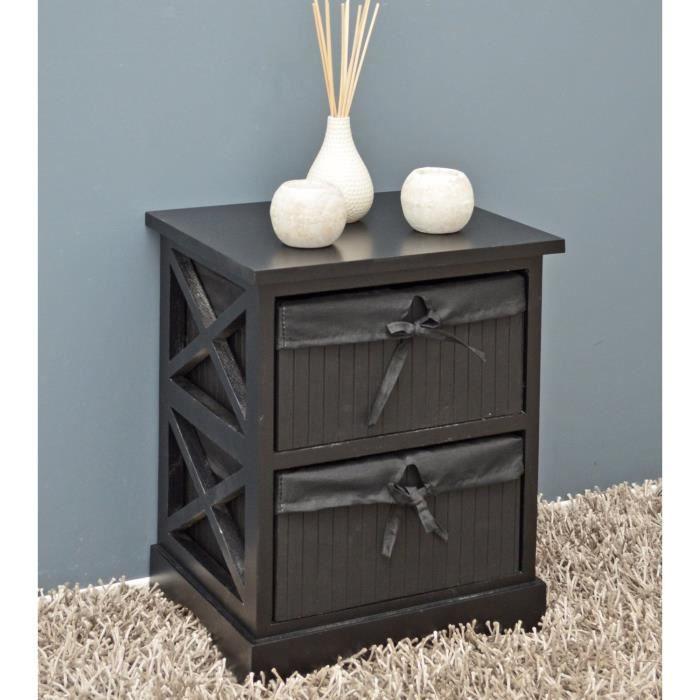commode noire table de chevet commode cuisine couloir avec deux paniers 44 cm achat vente. Black Bedroom Furniture Sets. Home Design Ideas