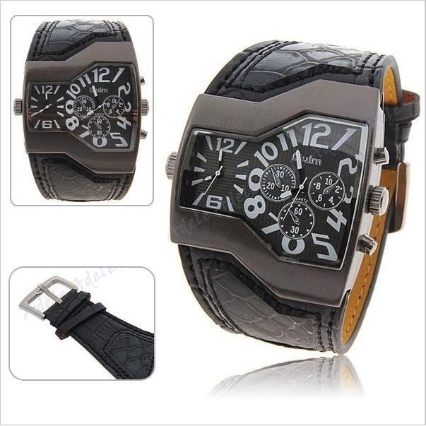 montre homme bracelet simili cuir 2 cadran tendance achat vente montre cdiscount. Black Bedroom Furniture Sets. Home Design Ideas