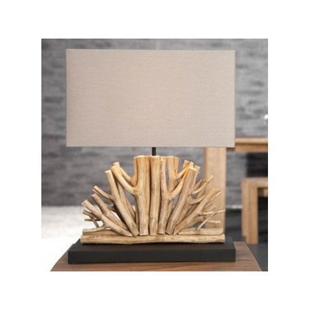 lampe bois flott naturel beige arcachon achat vente lampe bois flott arcachon bois tissu. Black Bedroom Furniture Sets. Home Design Ideas