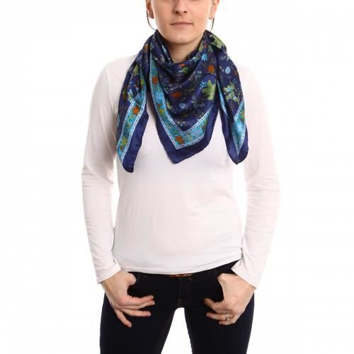 carr de soie kannur bleu achat vente echarpe foulard 3760236761447 cdiscount. Black Bedroom Furniture Sets. Home Design Ideas