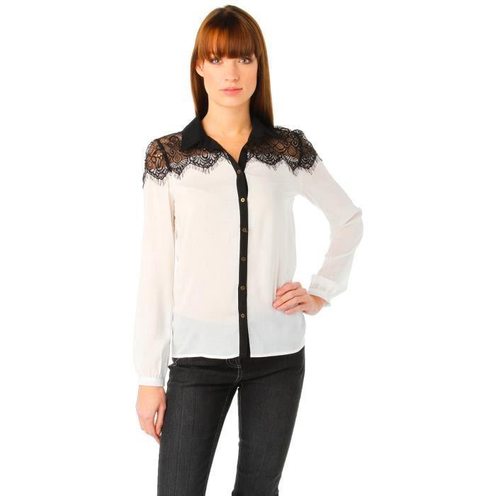 chemise paule dentelle m canique blanc achat vente chemise chemisette cdiscount. Black Bedroom Furniture Sets. Home Design Ideas