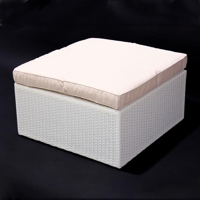 Modulaire canap en poly rotin rome coloris blanc cr me for Canape en polyurethane