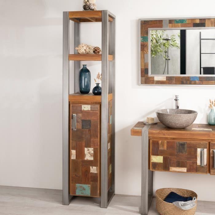 Meuble colonne de salle de bain factory bois m achat vente colonne armoire sdb meuble for Colonne salle de bain bois