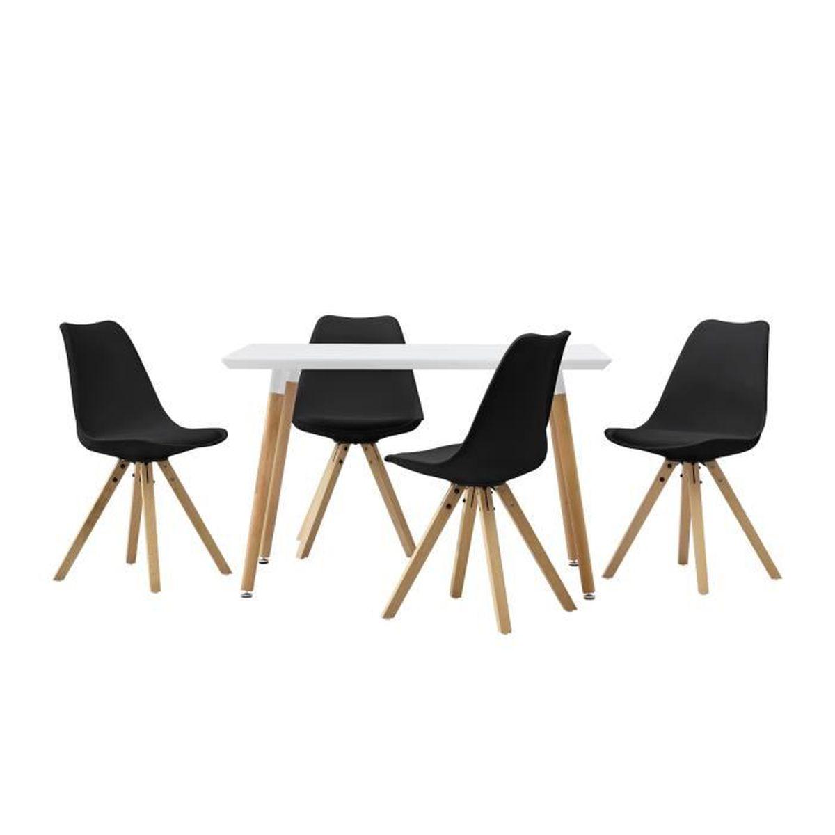 Table de salle manger avec 4 chaises noir for Table salle a manger avec chaises