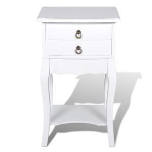 Table de chevet blanche 2 tiroirs achat vente table de for Tables de chevet blanches