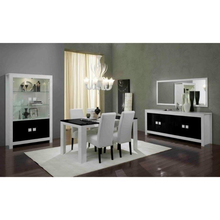 Pisa laque blanc et noir ensemble salle a manger achat for Salle a manger blanc et noir