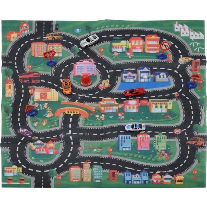tapis de jeu route avec 4 voitures accessoire de jeux pour enfants achat vente tapis de. Black Bedroom Furniture Sets. Home Design Ideas