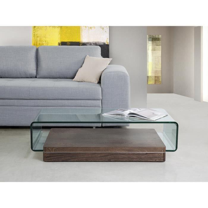 Table basse table de salon en verre et orme naturel for Table basse en orme