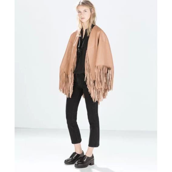 hiver pour femme pu cuir manteau cape franges gris rose achat vente manteau caban. Black Bedroom Furniture Sets. Home Design Ideas