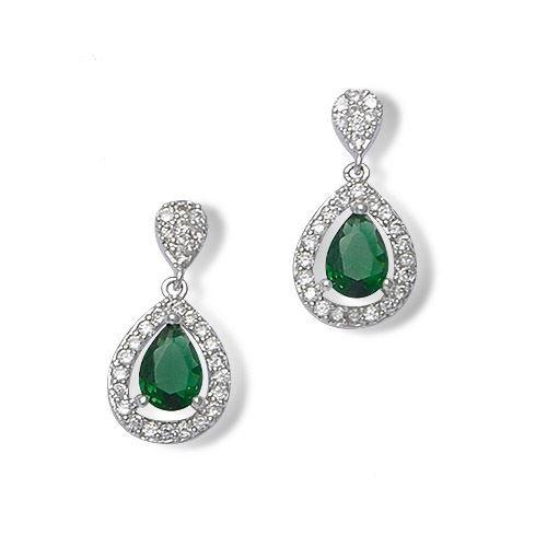 Boucles d 39 oreilles argent zirconium pierre verte achat vente boucle d 39 oreille boucles d - Poussette de boucle d oreille ...