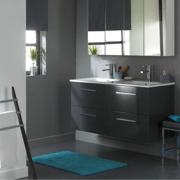 Meuble de salle de bain 120 cm 4 tiroirs gris l achat vente meuble vasqu - Meuble salle de bain gris ...