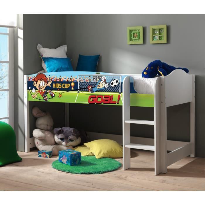 lit enfant mezzanine blanc 90x200 football achat vente lit mezzanine lit enfant mezzanine. Black Bedroom Furniture Sets. Home Design Ideas