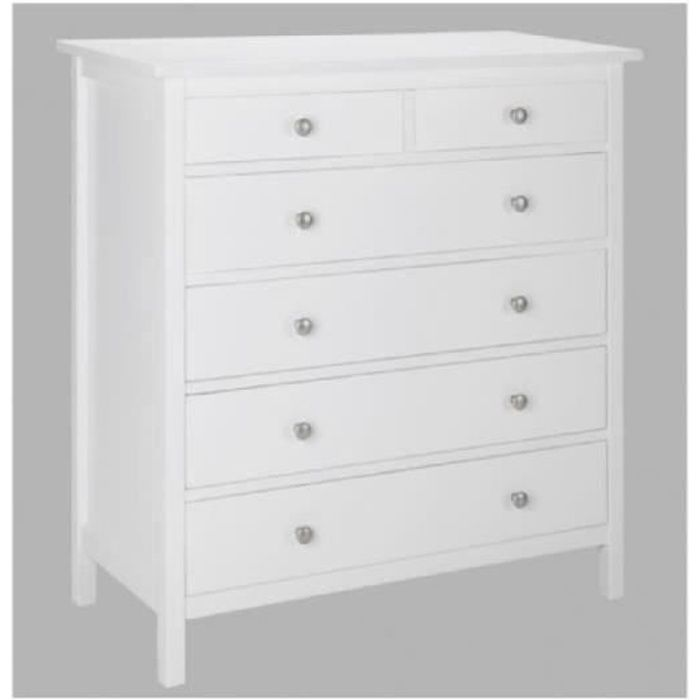 commode albane 6 tiroirs pin blanc achat vente. Black Bedroom Furniture Sets. Home Design Ideas