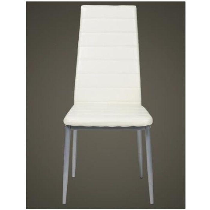 Lot de 4 chaises blanche iris achat vente chaise pvc simili soldes d - Lot 4 chaises blanches ...