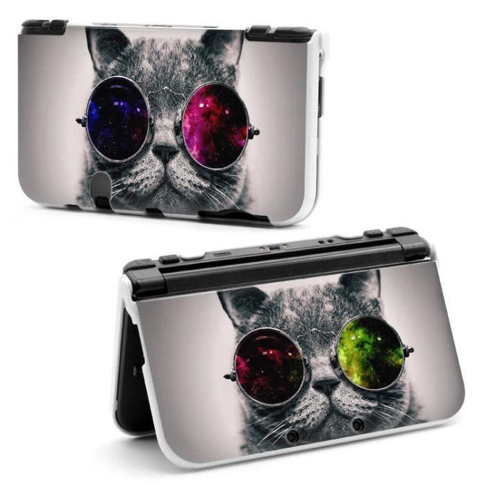 Coque housse new 3ds xl chat lunettes cat moustache rouge for Housse 3ds xl