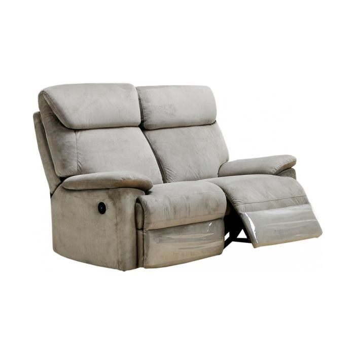 Canap relax lectrique agra tissu gris 2 places achat - Canape relax 2 places tissu ...