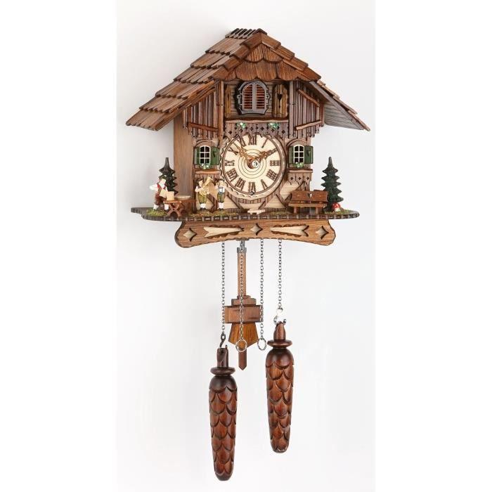 pendule coucou quartz maison de for t noire achat vente horloge bois cdiscount. Black Bedroom Furniture Sets. Home Design Ideas