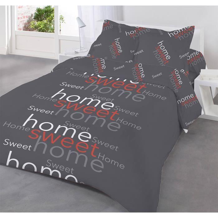 Parure de lit 4 pi ces sweet home rouge pour lit deux for Parure de lit rouge