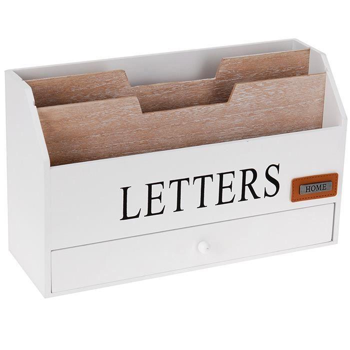 Organiseur range courrier bureau rangement porte lettres for Bureau bois avec rangement