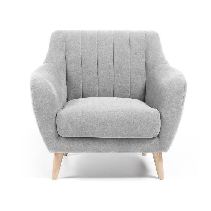 fauteuil obo gris clair achat vente fauteuil cdiscount. Black Bedroom Furniture Sets. Home Design Ideas