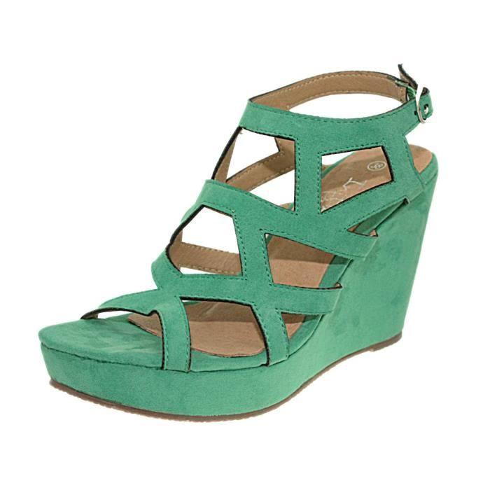 sandales compensees initiale ver vert turquoise achat vente sandale nu pieds cdiscount. Black Bedroom Furniture Sets. Home Design Ideas