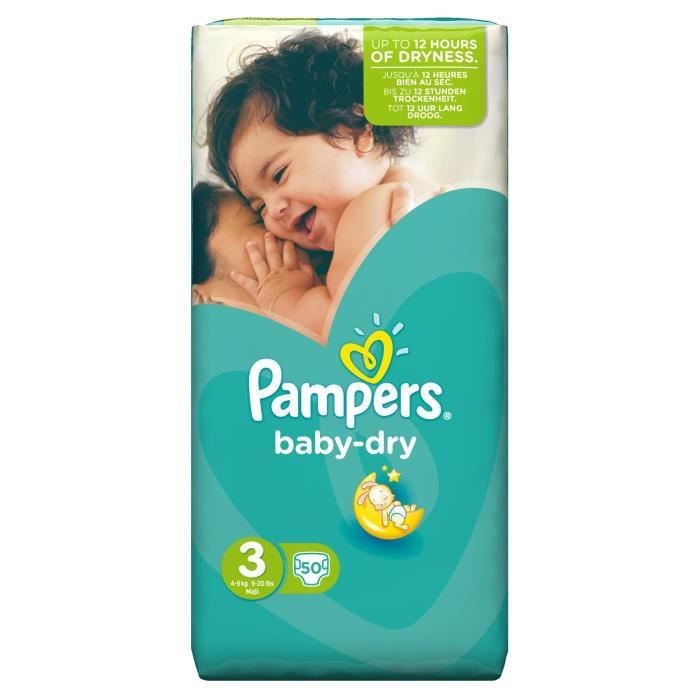 Pampers baby dry taille 3 4 9 kg 50 couches format - Couches pampers baby dry taille 3 ...