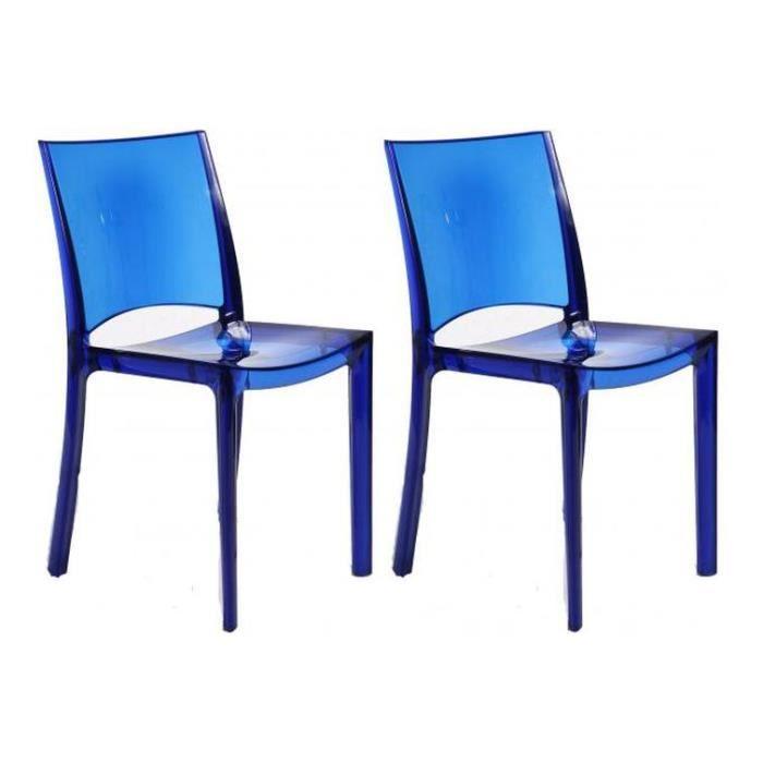 Lot De 2 Chaises Design Transparentes Bleues Sommet Achat Vente Chaise Bleu Cdiscount