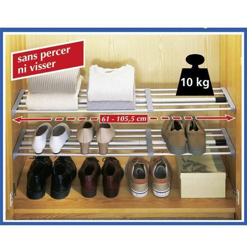 2 tag res extensibles pour placard 61 5 105 5cm achat. Black Bedroom Furniture Sets. Home Design Ideas
